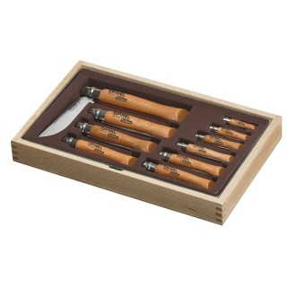 Vitrine 10 couteaux Opinel Carbone